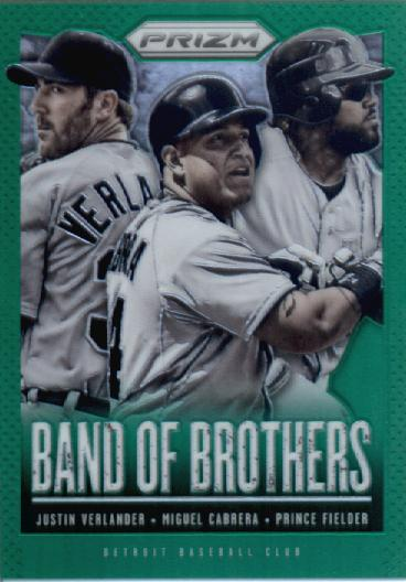 2013 Panini Prizm Band of Brothers Prizms Green #30 Justin Verlander/Miguel Cabrera/Prince Fielder SP
