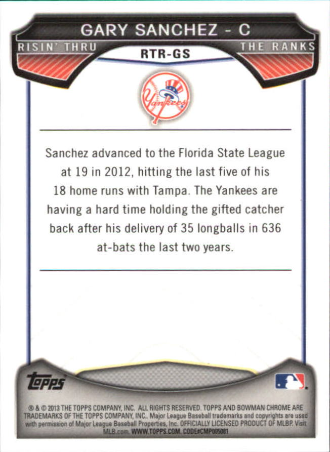 2013 Bowman Chrome Rising Through the Ranks Mini #GS Gary Sanchez