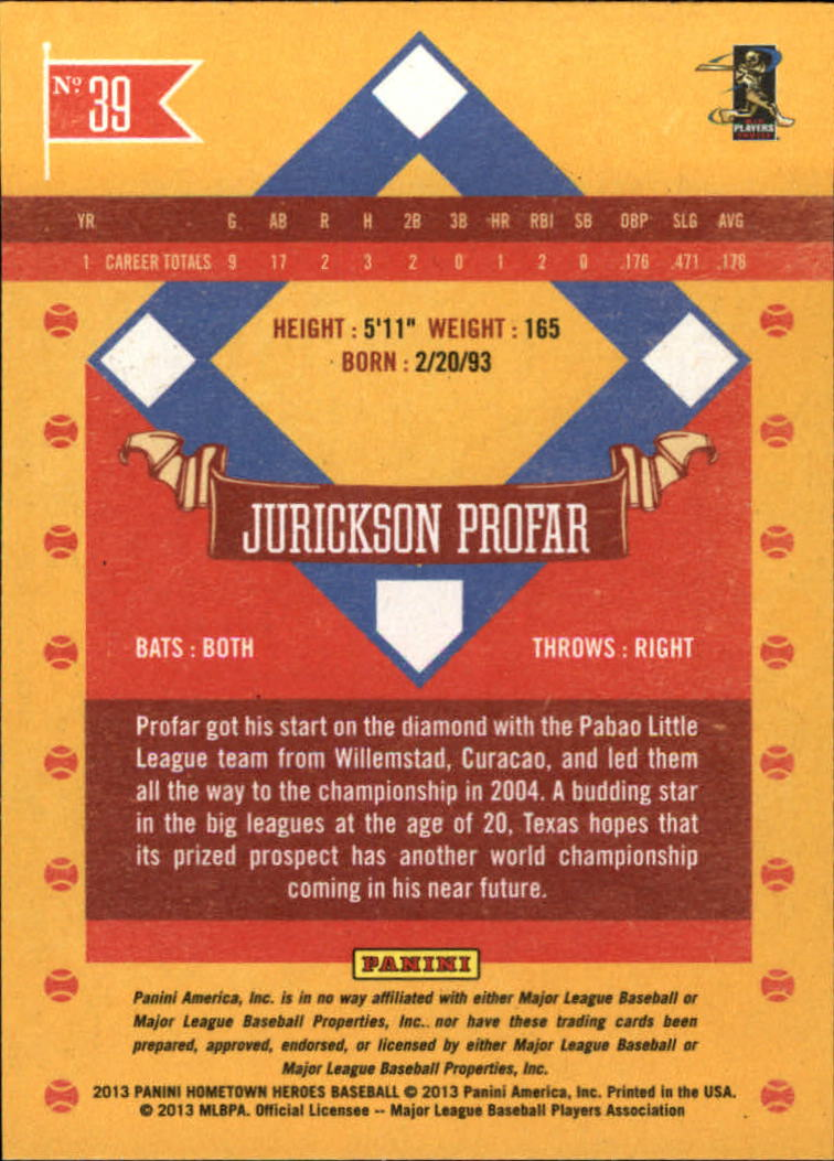 2013 Hometown Heroes #39 Jurickson Profar RC
