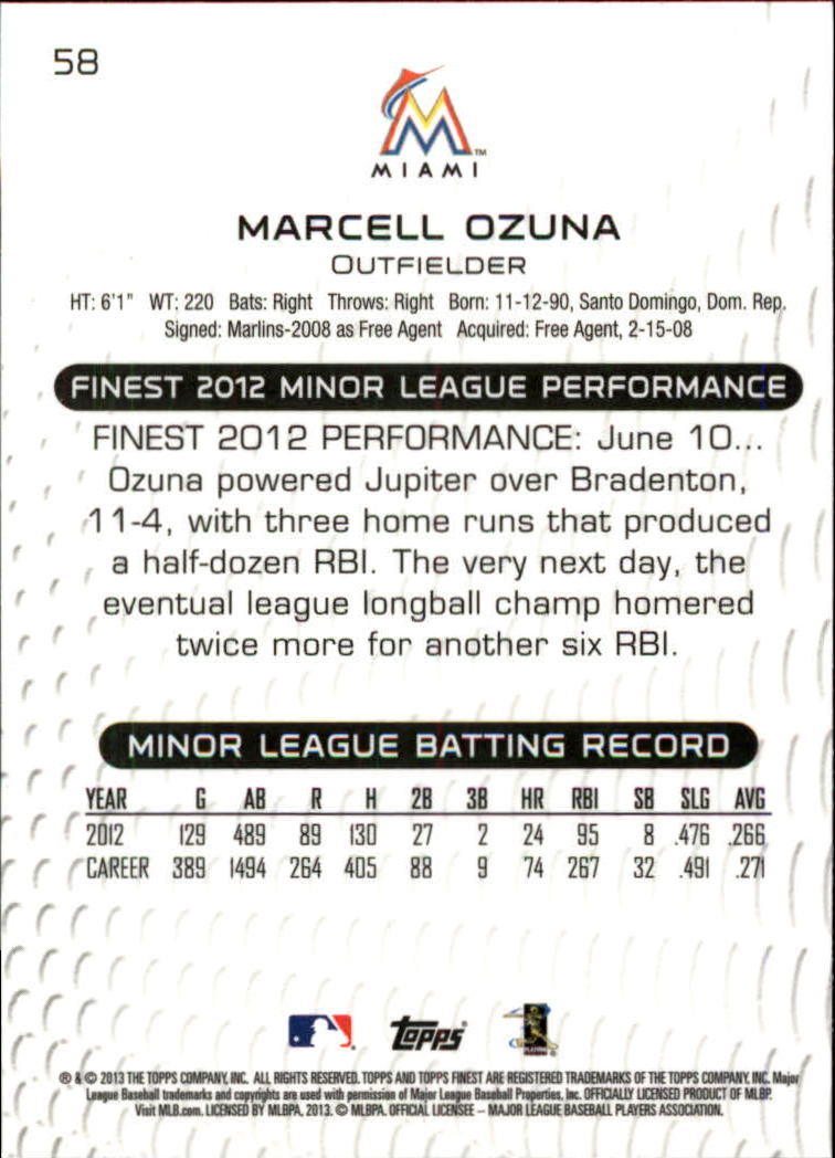 2013 Finest #58 Marcell Ozuna RC back image