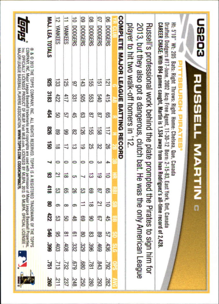 2013 Topps Update #US203 Russell Martin