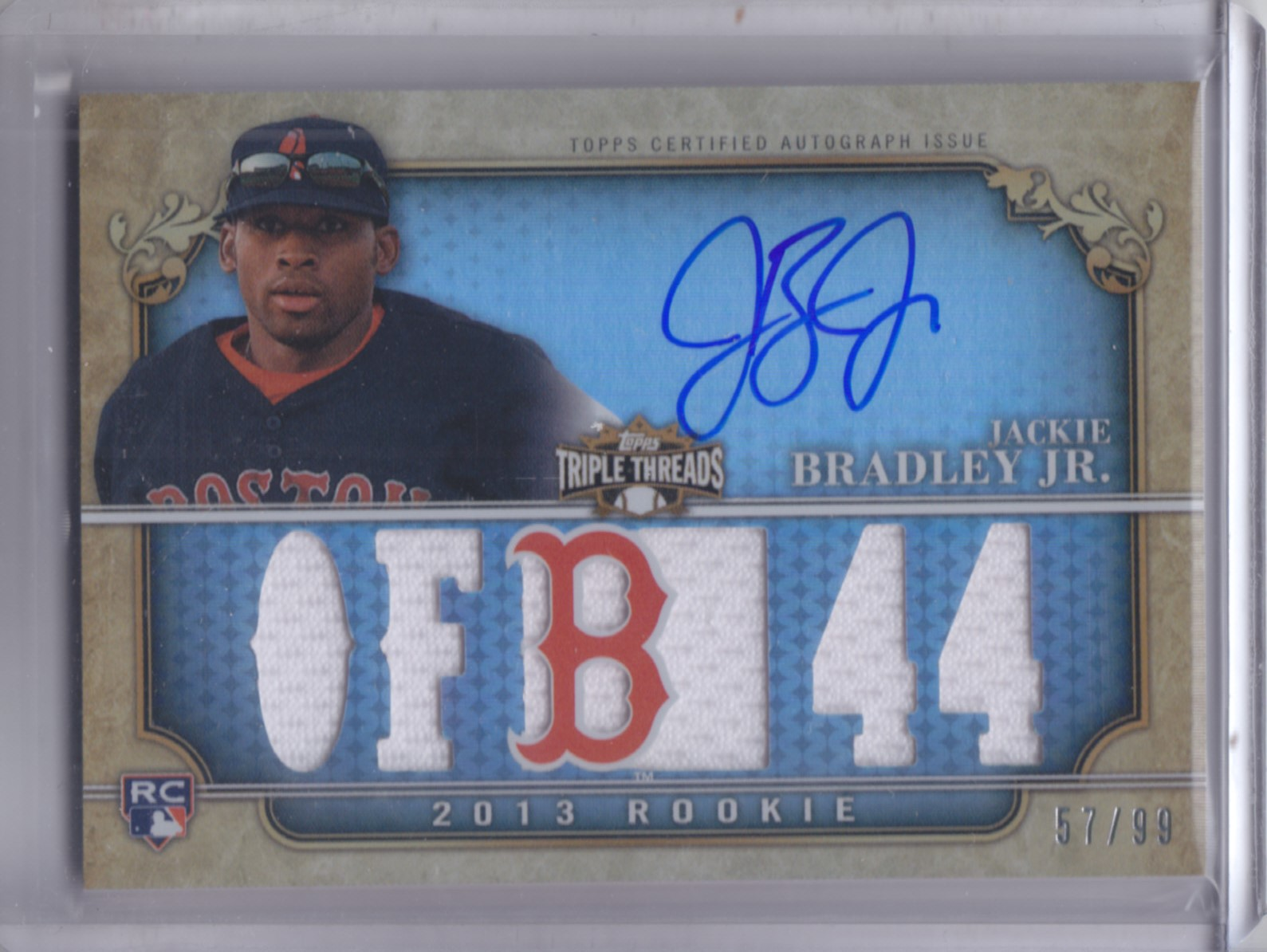 2013 Topps Triple Threads #148 Jackie Bradley Jr. JSY AU RC