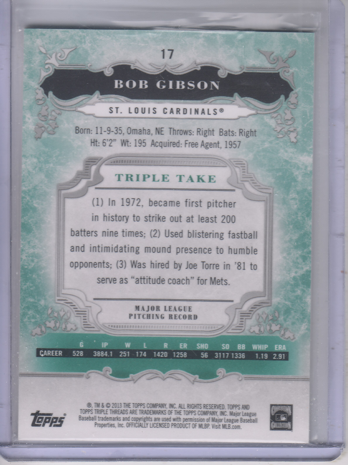 2013 Topps Triple Threads Emerald #17 Bob Gibson
