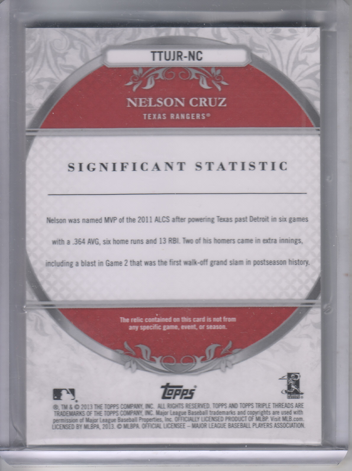 2013 Topps Triple Threads Unity Relics Ruby #NC Nelson Cruz