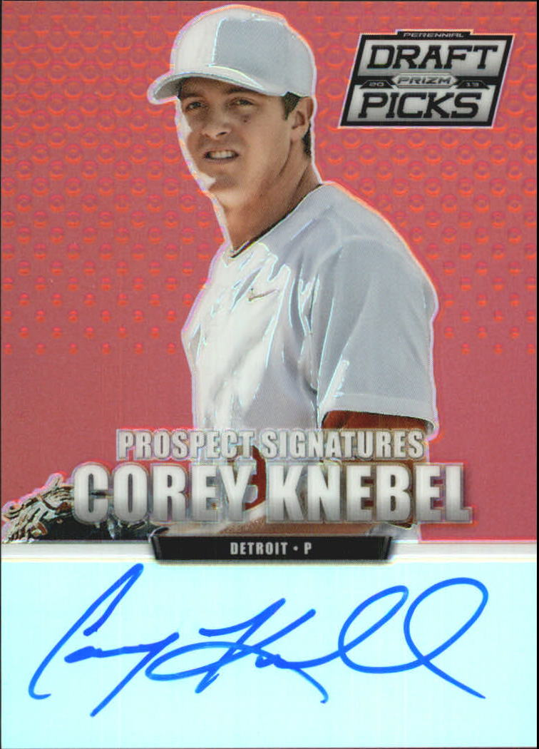 2013 Panini Prizm Perennial Draft Picks Prospect Signatures Red Prizms #38 Corey Knebel