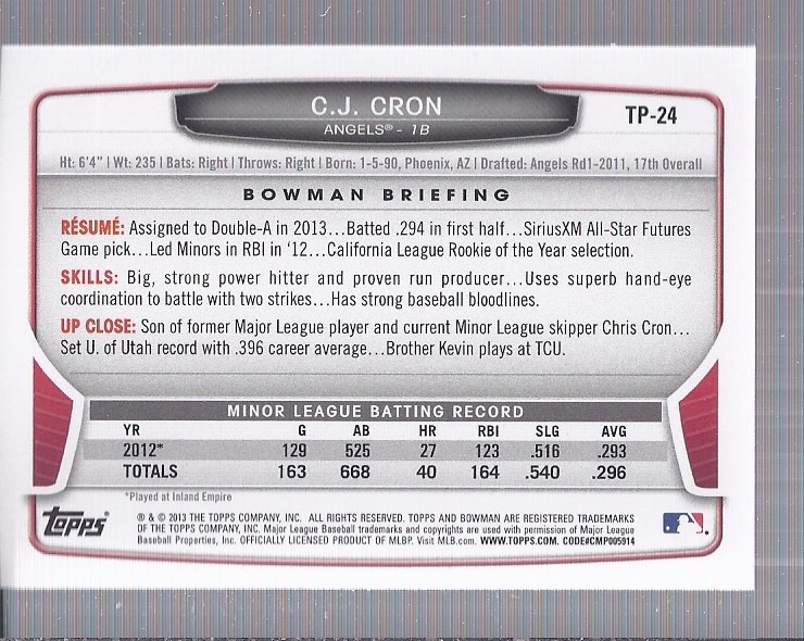 2013 Bowman Draft Top Prospects Silver Ice #TP24 C.J. Cron back image
