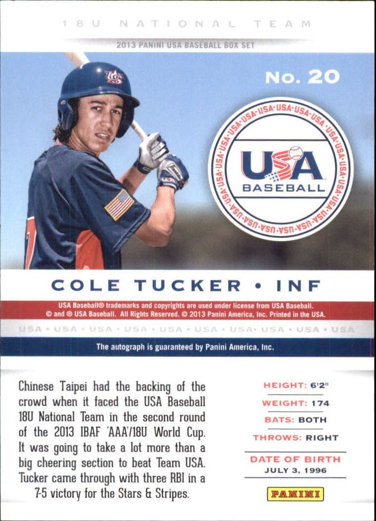 2013 USA Baseball 18U National Team Signatures #20 Cole Tucker