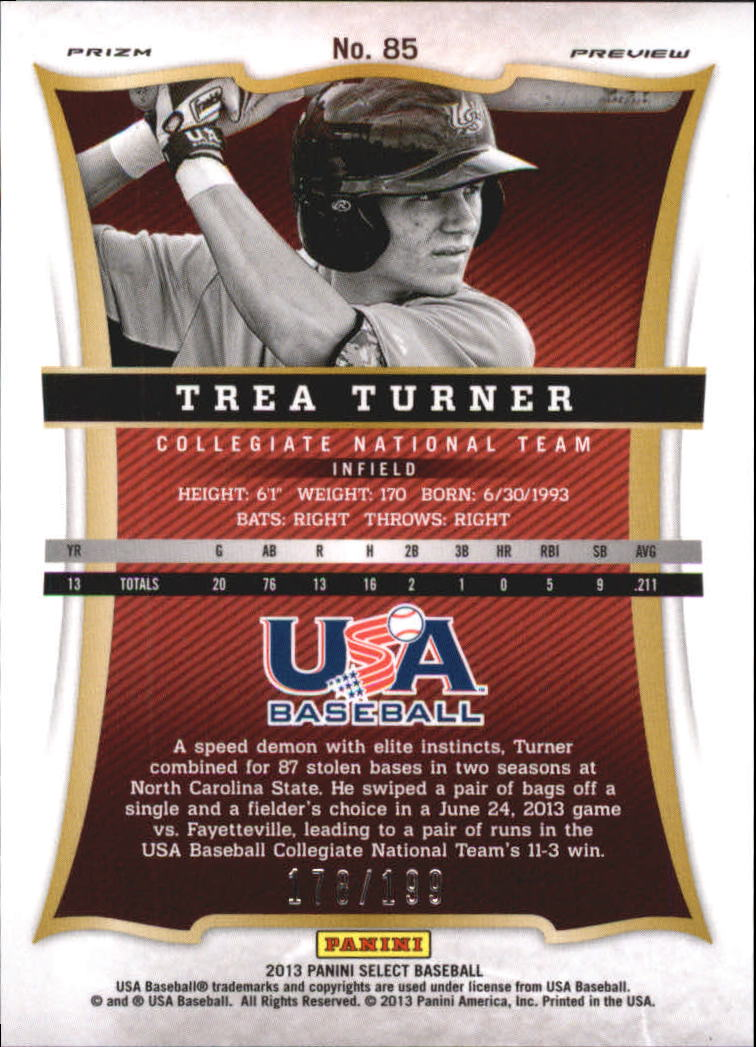 2013 USA Baseball Select Preview Blue Prizms #85 Trea Turner