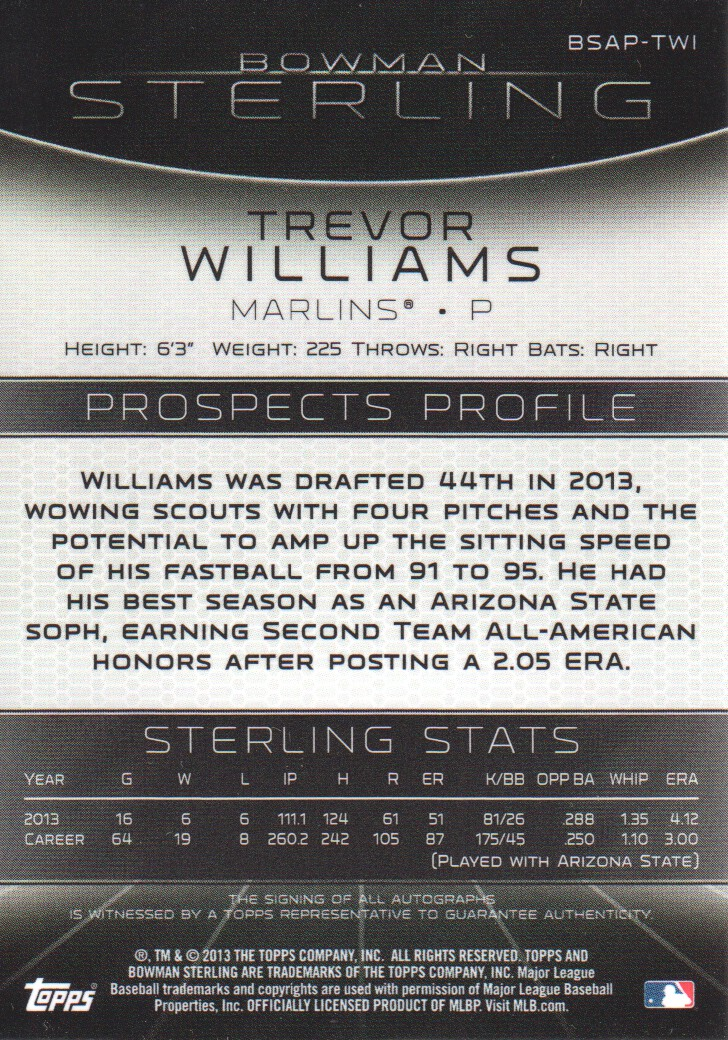 2013 Bowman Sterling Prospect Autographs #TWI Trevor Williams