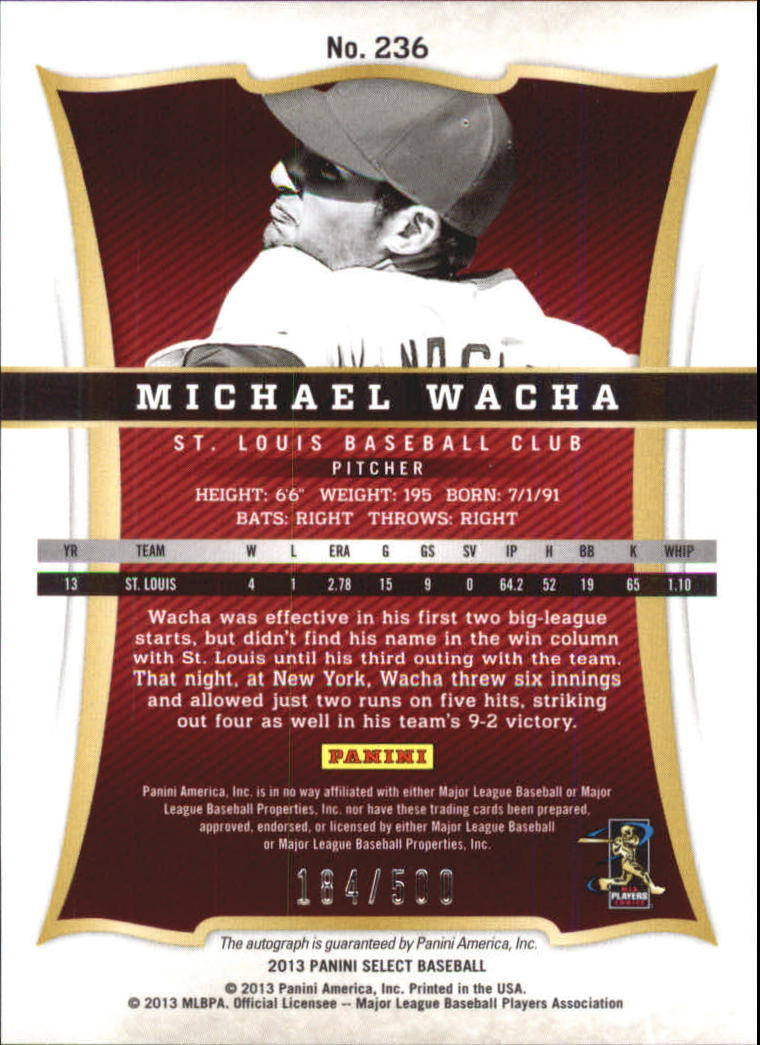 2013 Select #236 Michael Wacha AU/500 RC