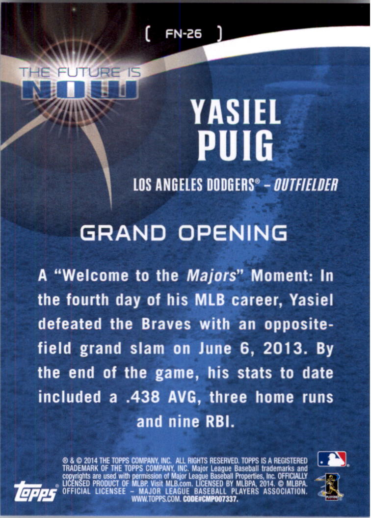 2014 Topps The Future is Now #FN26 Yasiel Puig