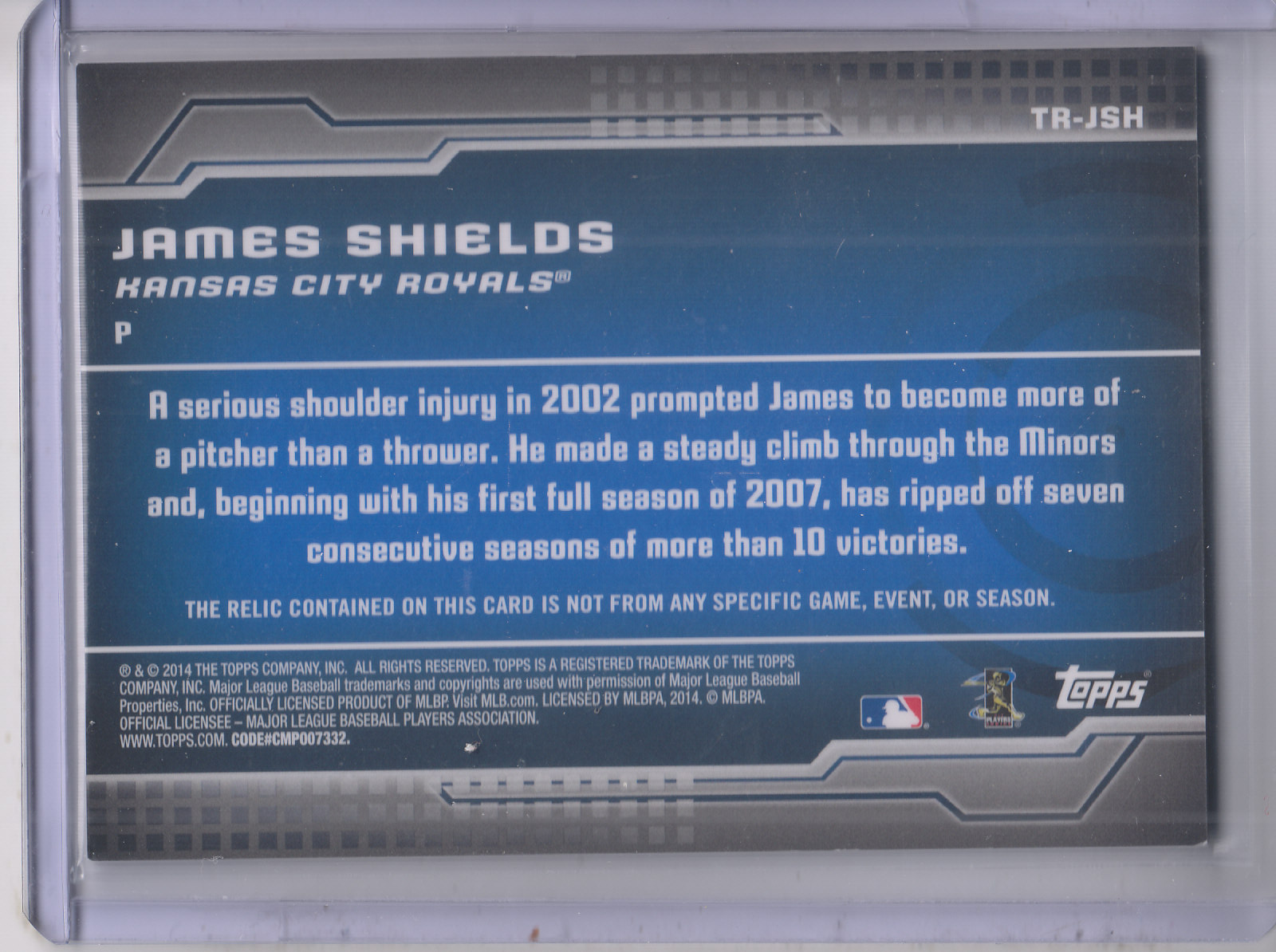 2014 Topps Trajectory Relics #TRJSH James Shields