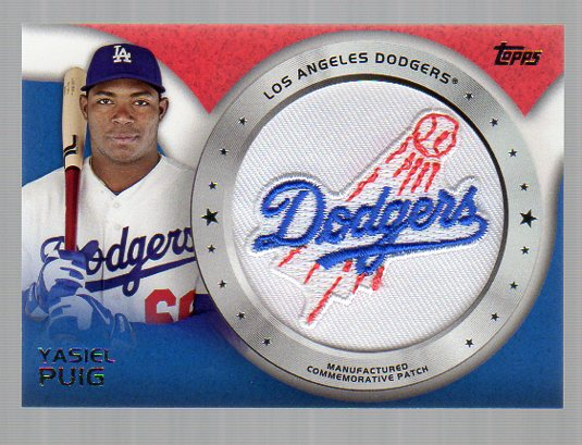 2014 Topps Manufactured Commemorative Team Logo Patch #CP17 Yasiel Puig