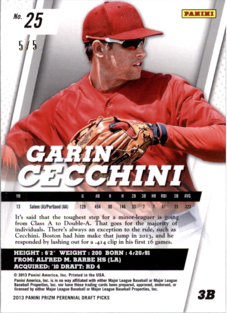 2013 Panini Prizm Perennial Draft Picks Industry Summit #25 Garin Cecchini