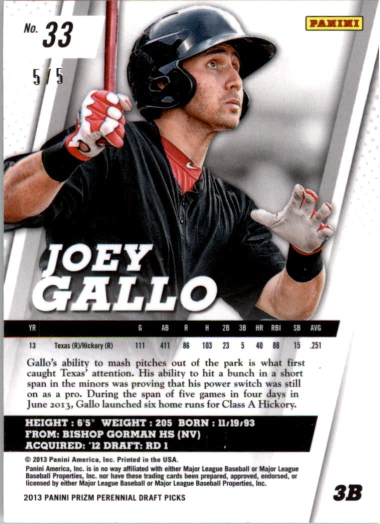 2013 Panini Prizm Perennial Draft Picks Industry Summit #33 Joey Gallo