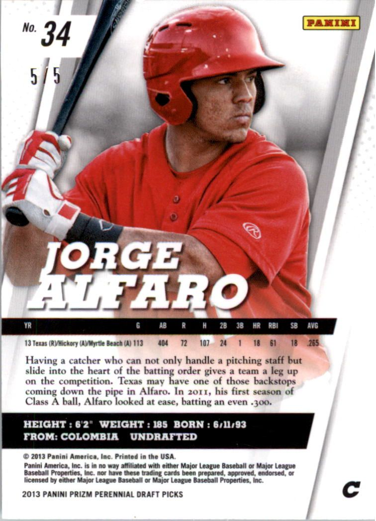 2013 Panini Prizm Perennial Draft Picks Industry Summit #34 Jorge Alfaro