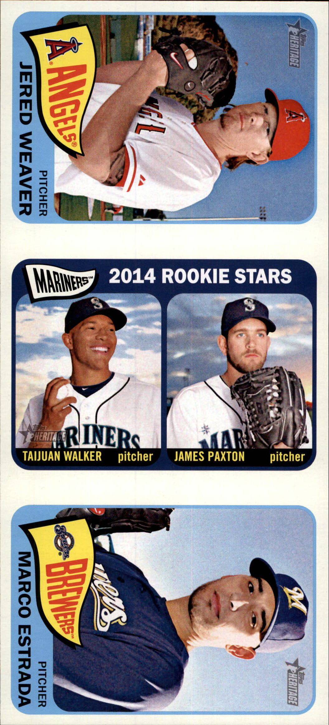 2014 Topps Heritage Advertising Panels #29 Jered Weaver/Taijuan Walker/James Paxton/Marco Estrada