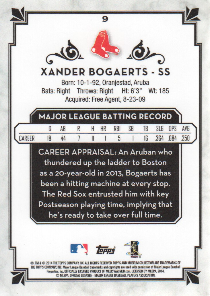 2014 Topps Museum Collection Copper #9 Xander Bogaerts