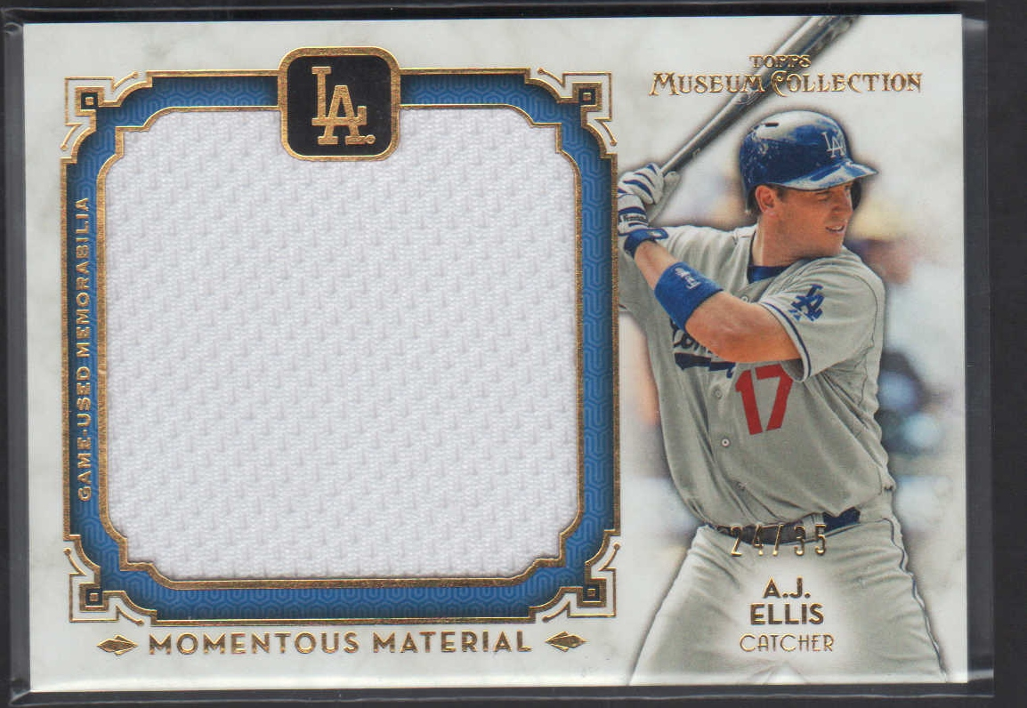 2014 Topps Museum Collection Momentous Material Jumbo Relics Gold #MMJRAEL A.J. Ellis