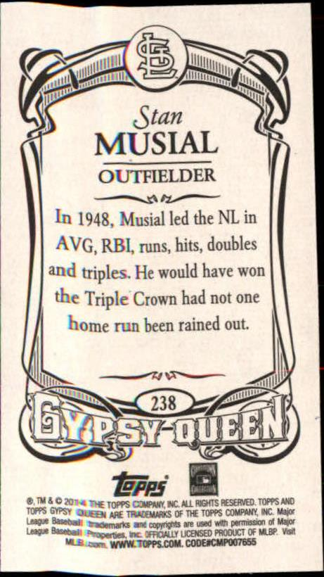 2014 Topps Gypsy Queen Mini #238A Stan Musial/With glove