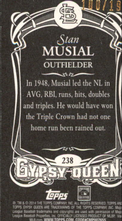 2014 Topps Gypsy Queen Mini Black #238 Stan Musial