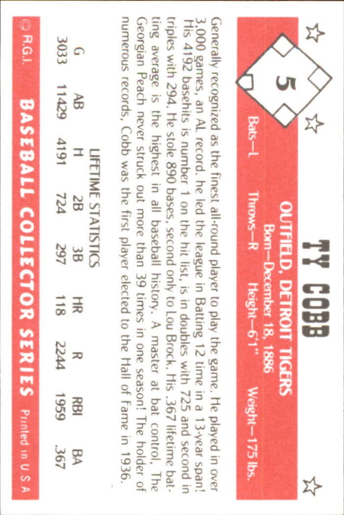 1984 Galasso Baseball Collector Series #5 Ty Cobb