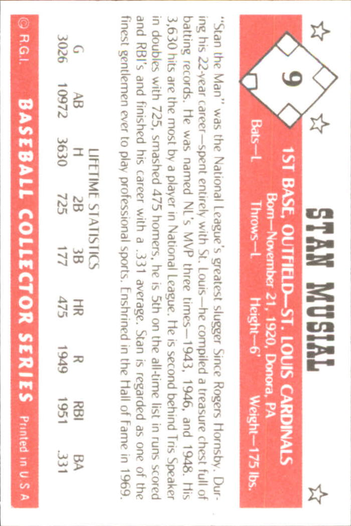 1984 Galasso Baseball Collector Series #9 Stan Musial