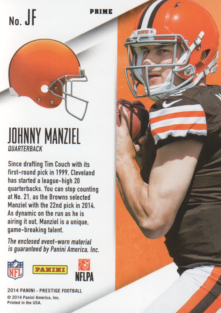 2014 Prestige Rookie Jumbo Jerseys Patch Extra Points Purple #JF Johnny Manziel