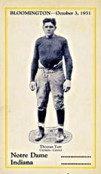 1931 Notre Dame Postcards #5 Tommy Yarr/(Oct. 3 vs. Indiana)
