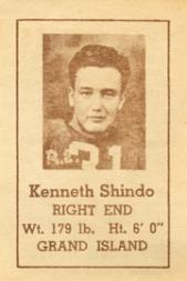 1940 Nebraska Don Leon Coffee #20 Kenneth Shindo