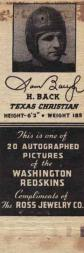 1940 Redskins Matchbooks #2 Sammy Baugh