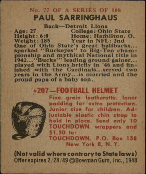 1948 Bowman #77 Paul Sarringhaus RC back image
