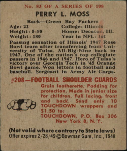 1948 Bowman #83 Perry Moss RC back image