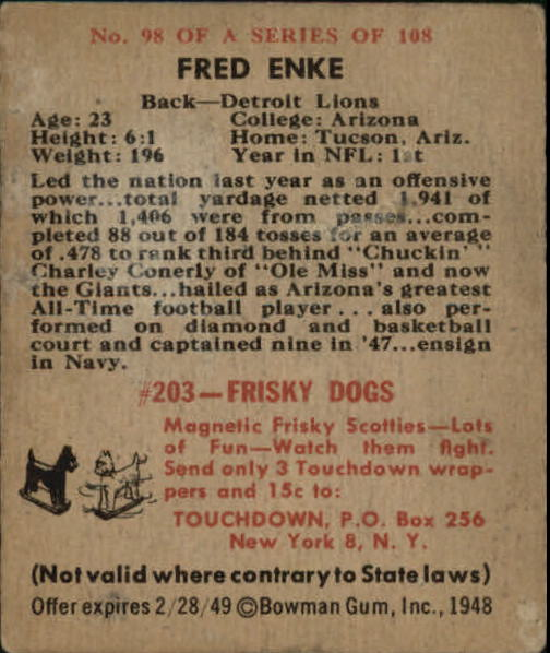 1948 Bowman #98 Fred Enke RC
