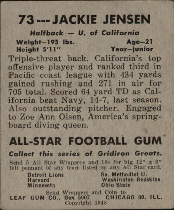 1948 Leaf #73A Jackie Jensen RB RC/(Red Background/Misspelled Jackey on card front)