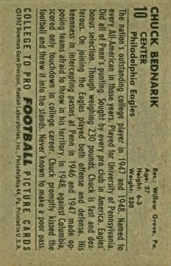 1952 Bowman Large #10 Chuck Bednarik SP back image