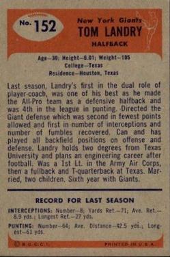 1955 Bowman #152 Tom Landry back image