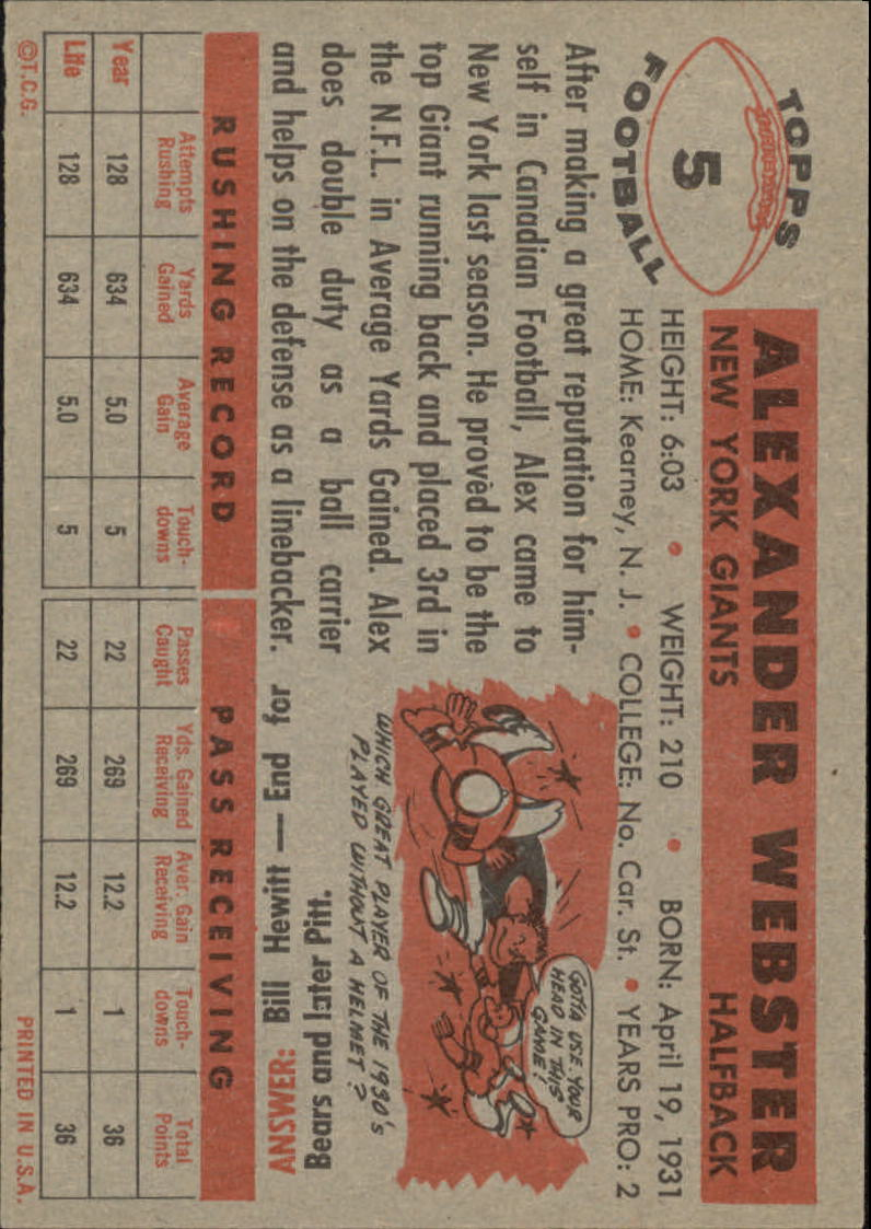 1956 Topps #5 Alex Webster RC