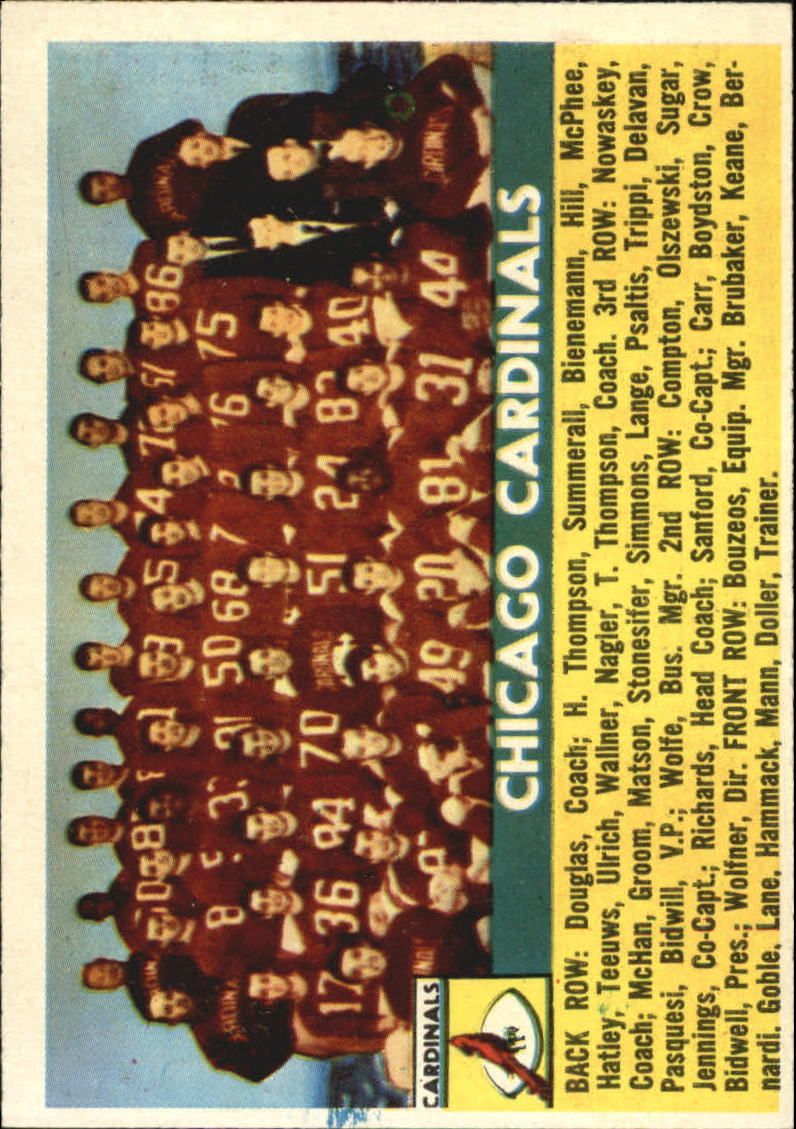 1956 Topps #22 Chicago Cardinals SP