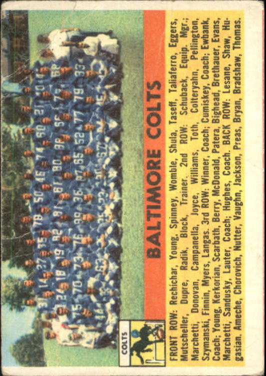 1956 Topps #48 Baltimore Colts