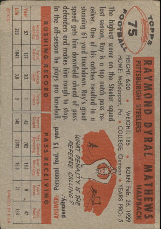 1956 Topps #75 Ray Mathews