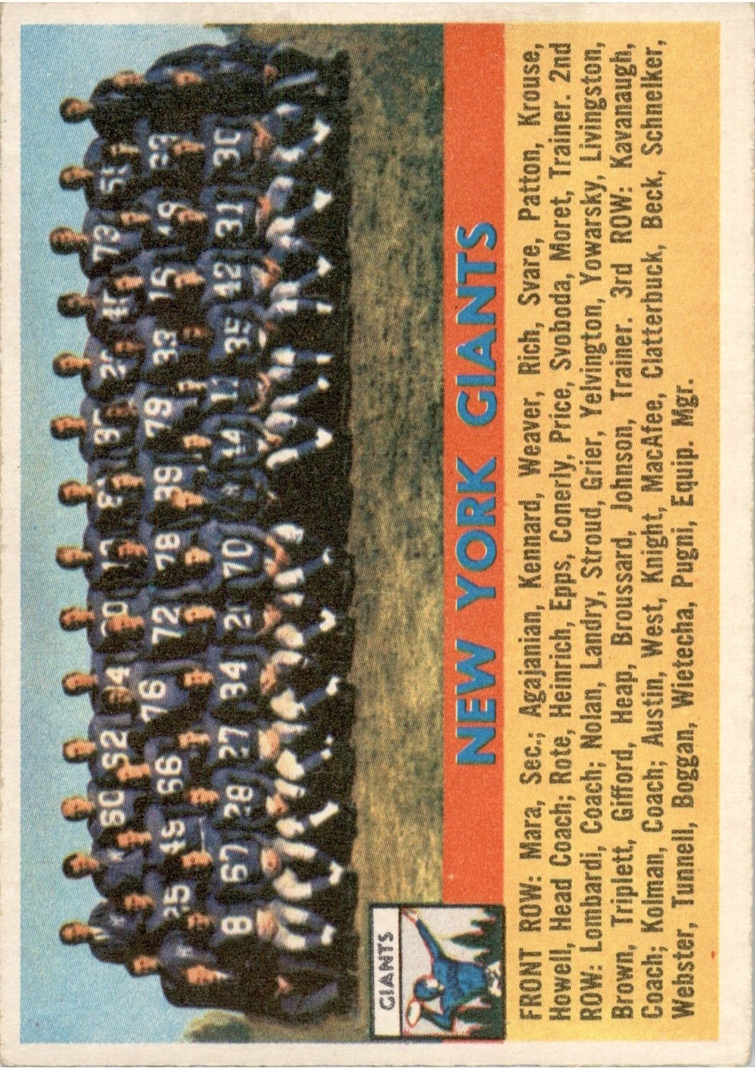 1956 Topps #113 New York Giants front image