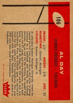 1960 Fleer #106 Al Day RC