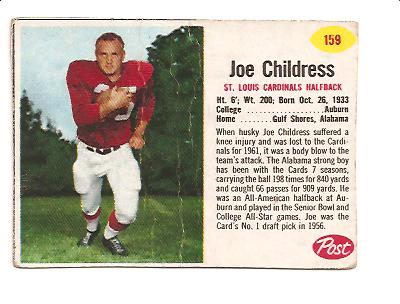 1962 Post Cereal #159 Joe Childress