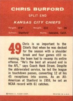 1963 Fleer #49 Chris Burford back image