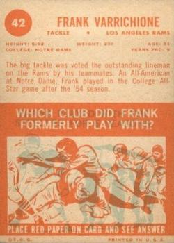 1963 Topps #42 Frank Varrichione back image