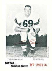 1964 B.C. Lions CKWX Program Inserts #5 Tom Brown