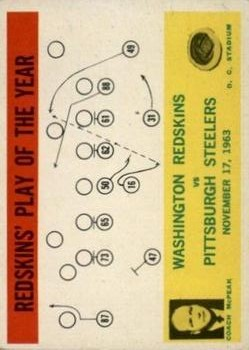 1964 Philadelphia #196 Washington Redskins Play