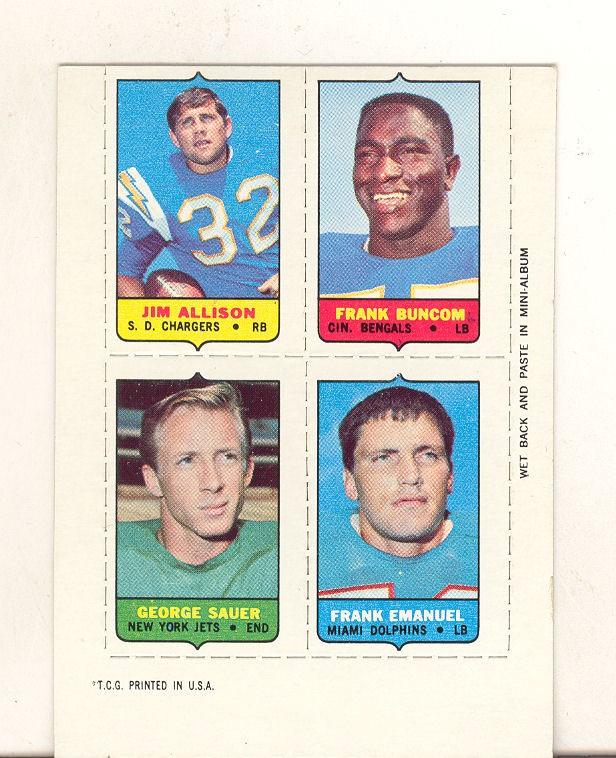 1969 Topps Four-in-One Inserts #2 Allison/Buncom/Emanuel/Sauer