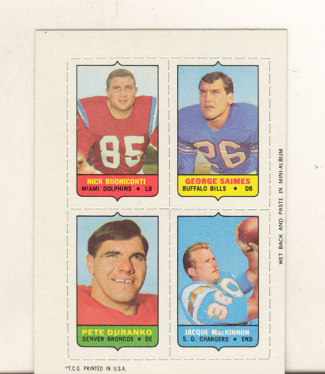 1969 Topps Four-in-One Inserts #11 Buoniconti/Saimes/MacKinnon/Duranko